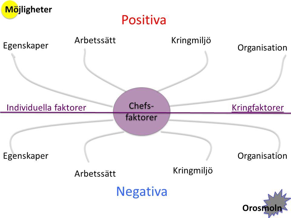 Chefs- faktorer Positiva Negativa Egenskaper ArbetssättKringmiljö Organisation Arbetssätt Kringmiljö Möjligheter Orosmoln Individuella faktorerKringfa