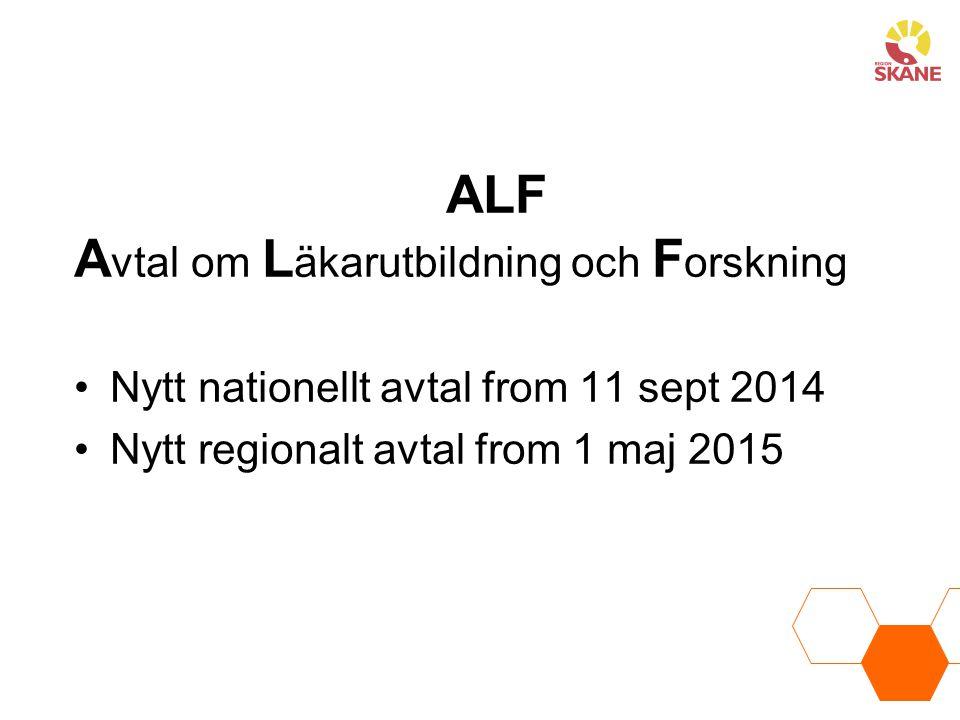 ALF A vtal om L äkarutbildning och F orskning Nytt nationellt avtal from 11 sept 2014 Nytt regionalt avtal from 1 maj 2015