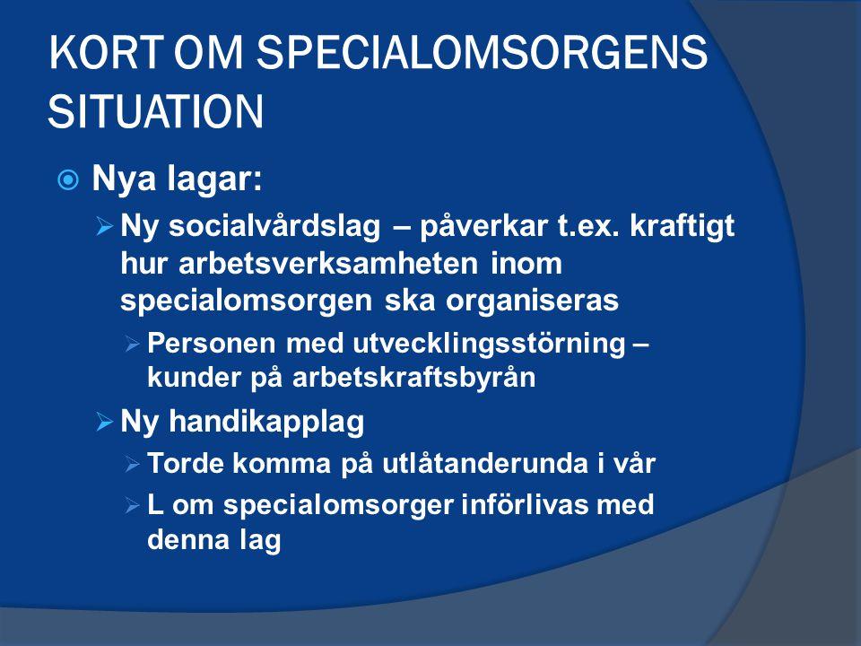 KORT OM SPECIALOMSORGENS SITUATION  Lagens ekonomiska konsekvenser för kommunerna ~ uträkningarna.