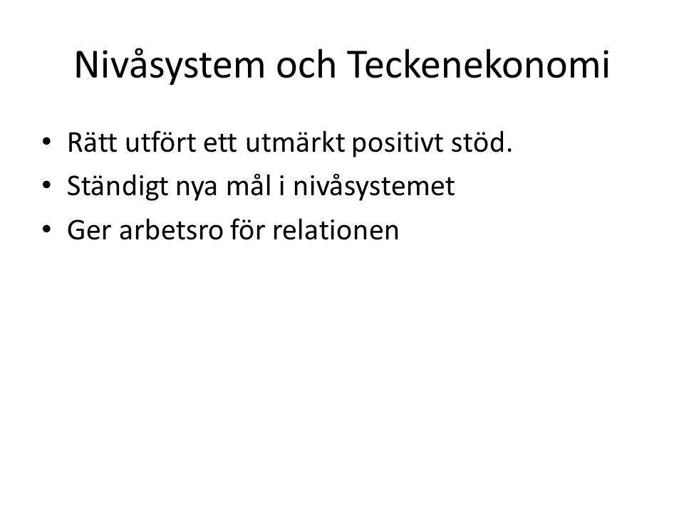Nivåsystem och Teckenekonomi Rätt utfört ett utmärkt positivt stöd. Ständigt nya mål i nivåsystemet Ger arbetsro för relationen