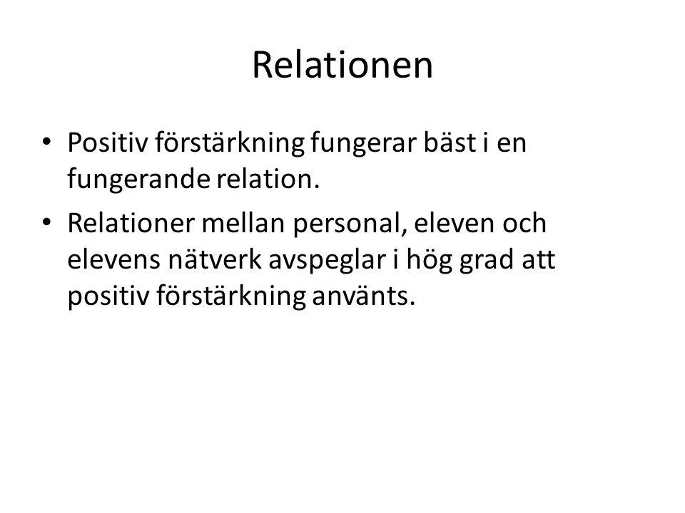 Relationen Positiv förstärkning fungerar bäst i en fungerande relation. Relationer mellan personal, eleven och elevens nätverk avspeglar i hög grad at