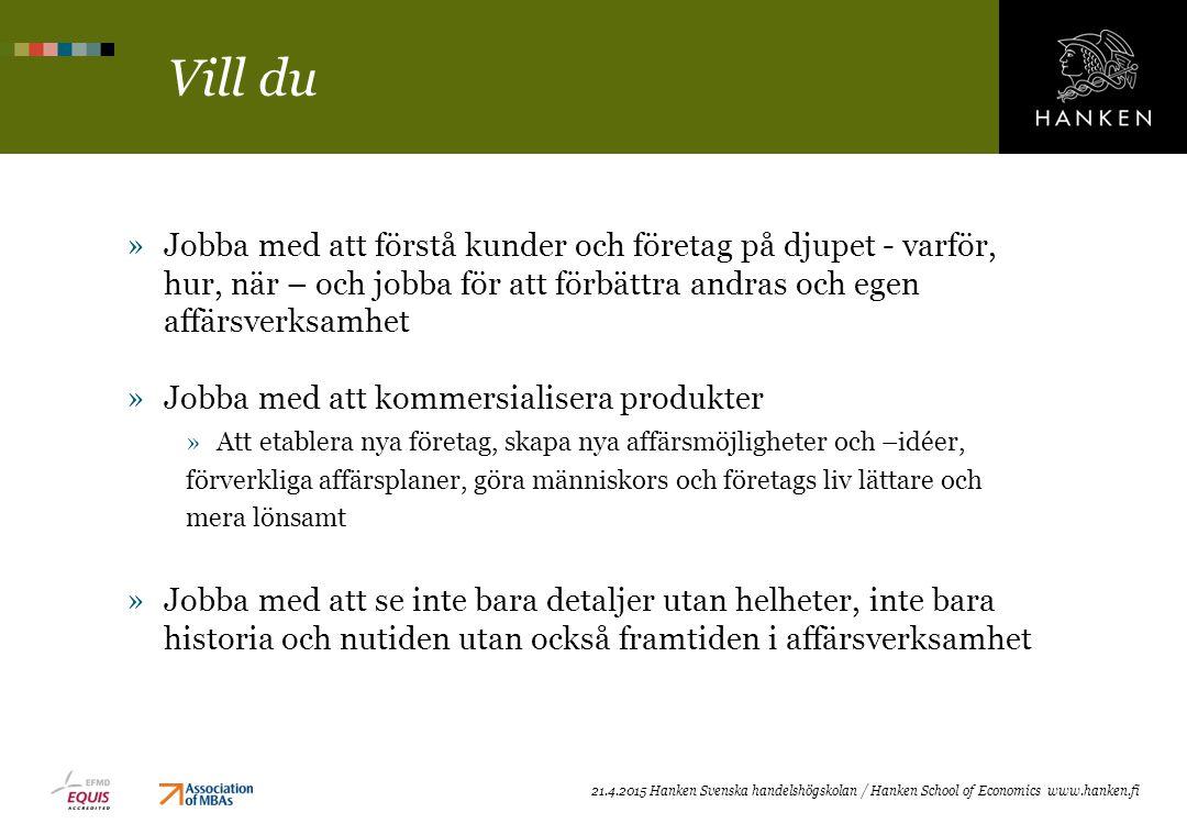 Vad jag lärt mig i MF (kort) Niklas Anttila, studerande »Analytiskt tänkande »Förstå marknader och kunder (strategi) »Mera frågan om ett sätt att tänka »Kundfokus »Alla företag i världen behöver MF, alla säljer någonting »Centralt för MF i Hanken (tjänste- och relationsmarknadsföring) » Innovation »Först, snabbast och unikast »MF har ett starkt fokus i framtiden »Verbal (också skriftlig) och social förmåga »Räcker inte att ha kunskap, måste kunna utrycka dig »Förmåga att arbeta i grupp »Bra kunskap om olika branscher och företag »Genom case och gästföreläsningar (networking)
