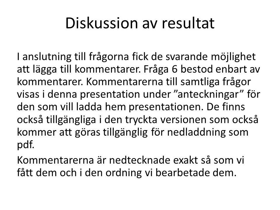 Diskussion av resultat I anslutning till frågorna fick de svarande möjlighet att lägga till kommentarer. Fråga 6 bestod enbart av kommentarer. Komment