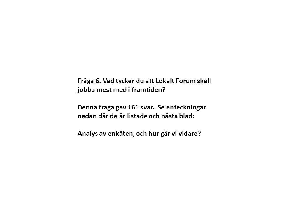 Fråga 6. Vad tycker du att Lokalt Forum skall jobba mest med i framtiden? Denna fråga gav 161 svar. Se anteckningar nedan där de är listade och nästa