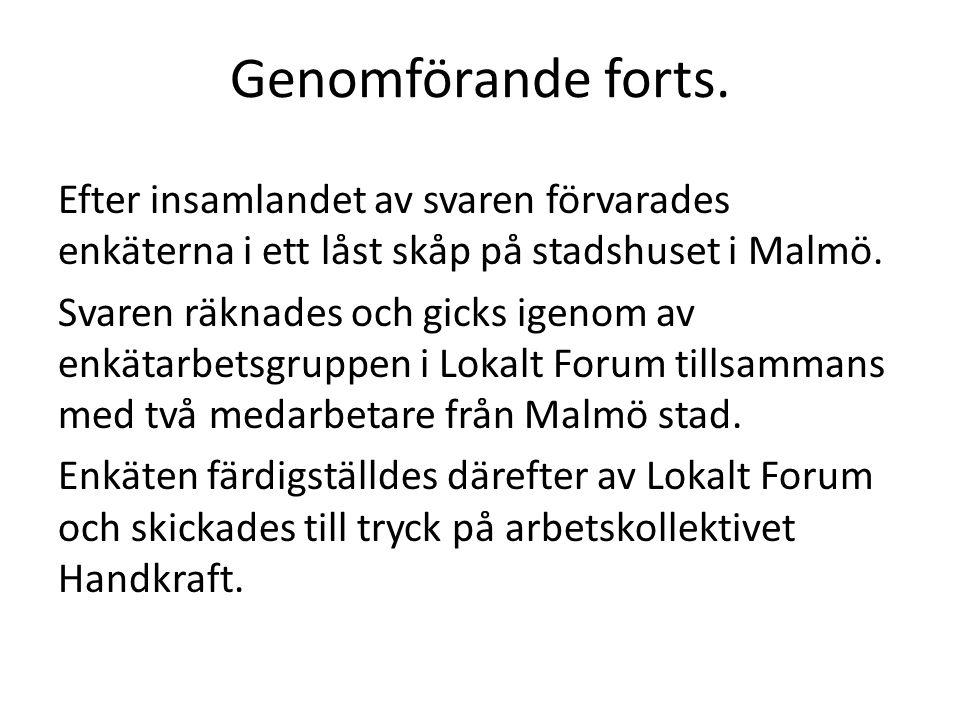 Genomförande forts. Efter insamlandet av svaren förvarades enkäterna i ett låst skåp på stadshuset i Malmö. Svaren räknades och gicks igenom av enkäta