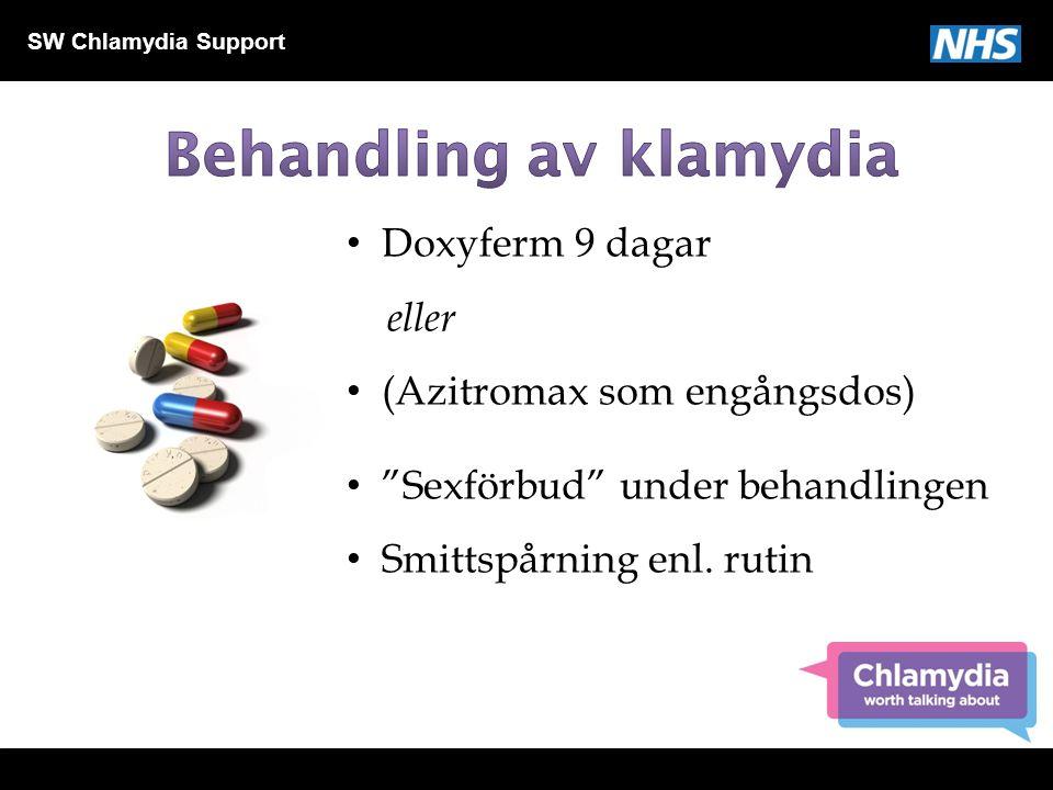 """SW Chlamydia Support Doxyferm 9 dagar eller (Azitromax som engångsdos) """"Sexförbud"""" under behandlingen Smittspårning enl. rutin"""