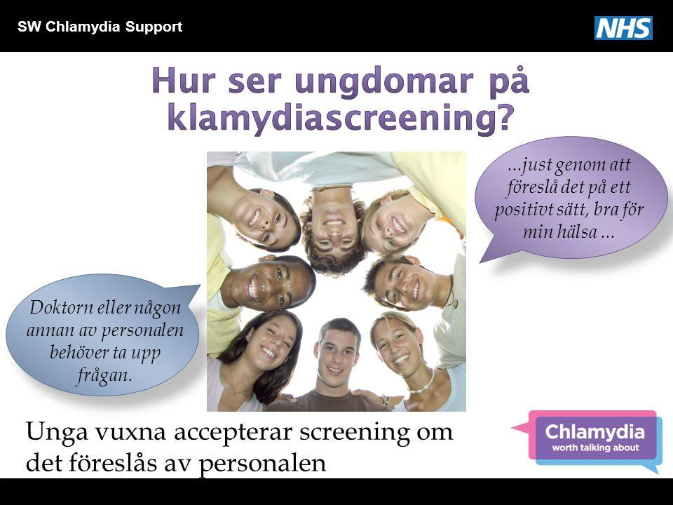 SW Chlamydia Support...just genom att föreslå det på ett positivt sätt, bra för min hälsa... Unga vuxna accepterar screening om det föreslås av person