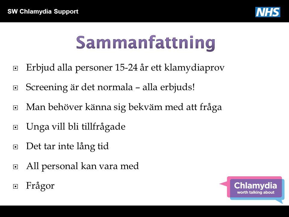 SW Chlamydia Support  Erbjud alla personer 15-24 år ett klamydiaprov  Screening är det normala – alla erbjuds!  Man behöver känna sig bekväm med at