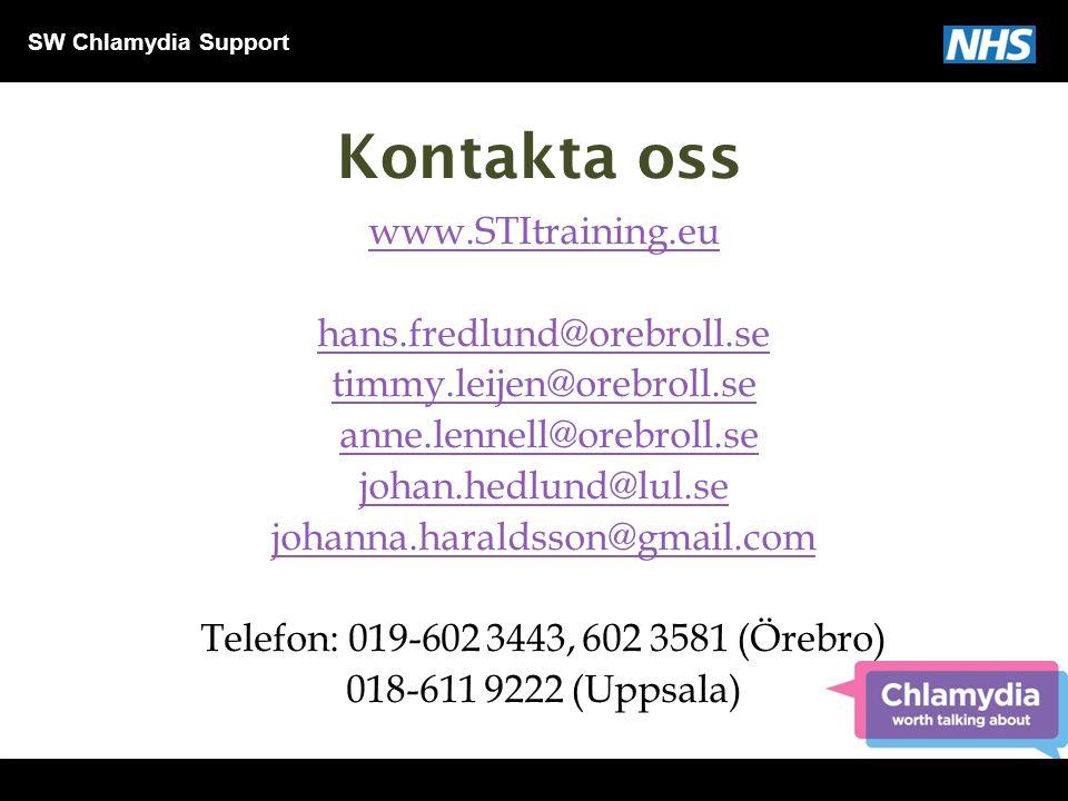 SW Chlamydia Support Kontakta oss www.STItraining.eu hans.fredlund@orebroll.se timmy.leijen@orebroll.se anne.lennell@orebroll.se johan.hedlund@lul.se