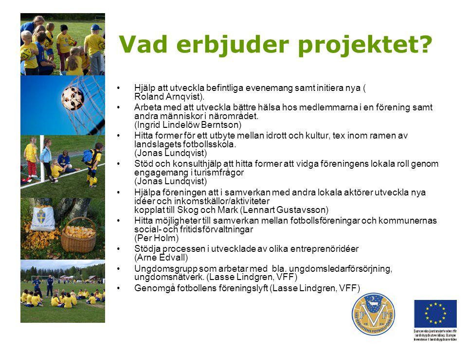 Vad erbjuder projektet? Hjälp att utveckla befintliga evenemang samt initiera nya ( Roland Arnqvist). Arbeta med att utveckla bättre hälsa hos medlemm