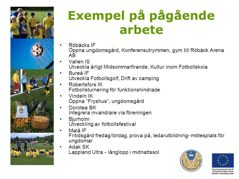 Exempel på pågående arbete Röbäcks IF Öppna ungdomsgård, Konferensutrymmen, gym till Röbäck Arena AB Vallen IS Utveckla årligt Midsommarfirande, Kultu
