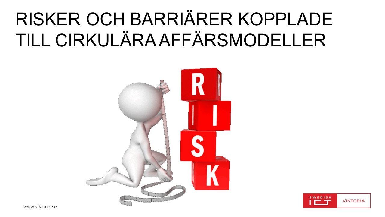 www.viktoria.se RISKER OCH BARRIÄRER KOPPLADE TILL CIRKULÄRA AFFÄRSMODELLER