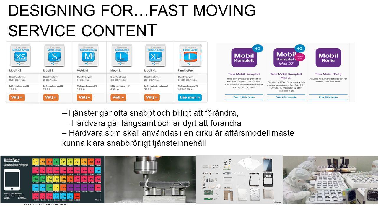 www.viktoria.se DESIGNING FOR…FAST MOVING SERVICE CONTEN T – Tjänster går ofta snabbt och billigt att förändra, – Hårdvara går långsamt och är dyrt at
