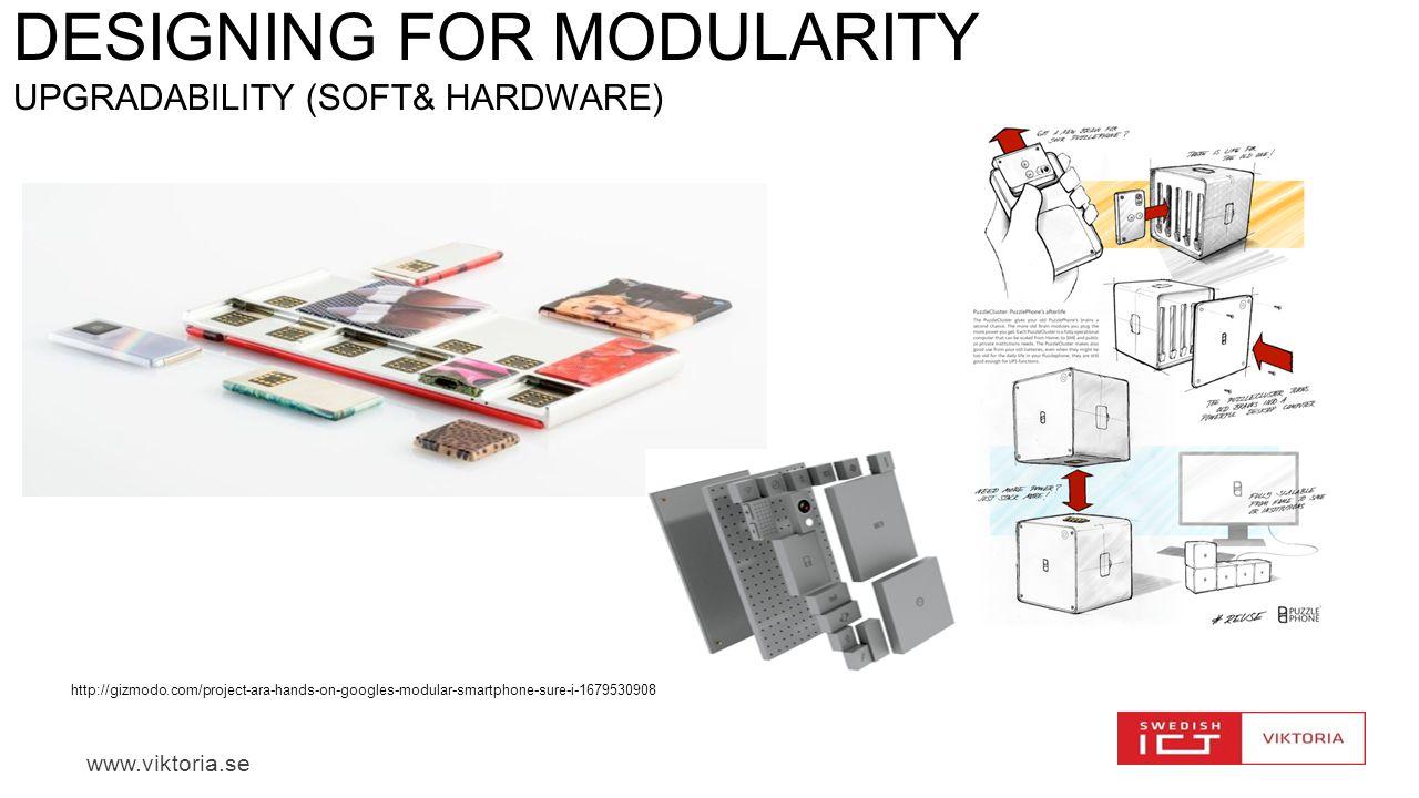 www.viktoria.se DESIGNING FOR MODULARITY UPGRADABILITY (SOFT& HARDWARE) http://gizmodo.com/project-ara-hands-on-googles-modular-smartphone-sure-i-1679
