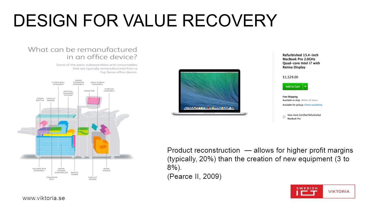 www.viktoria.se DESIGN FOR VALUE RECOVERY Product reconstruction — allows for higher profit margins (typically, 20%) than the creation of new equipment (3 to 8%).