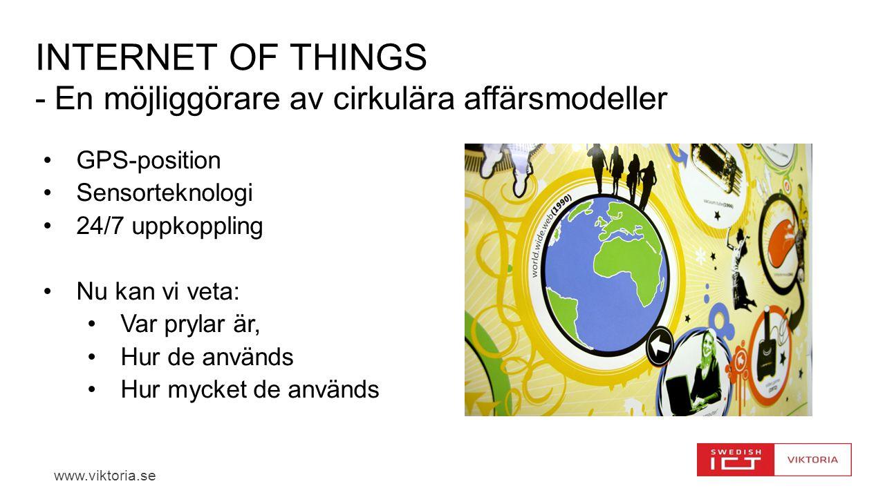 www.viktoria.se INTERNET OF THINGS - En möjliggörare av cirkulära affärsmodeller GPS-position Sensorteknologi 24/7 uppkoppling Nu kan vi veta: Var prylar är, Hur de används Hur mycket de används