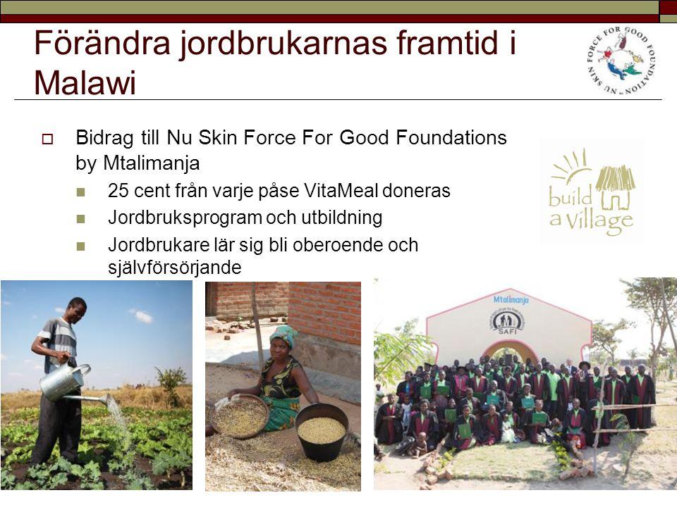 Förändra jordbrukarnas framtid i Malawi  Bidrag till Nu Skin Force For Good Foundations by Mtalimanja 25 cent från varje påse VitaMeal doneras Jordbr