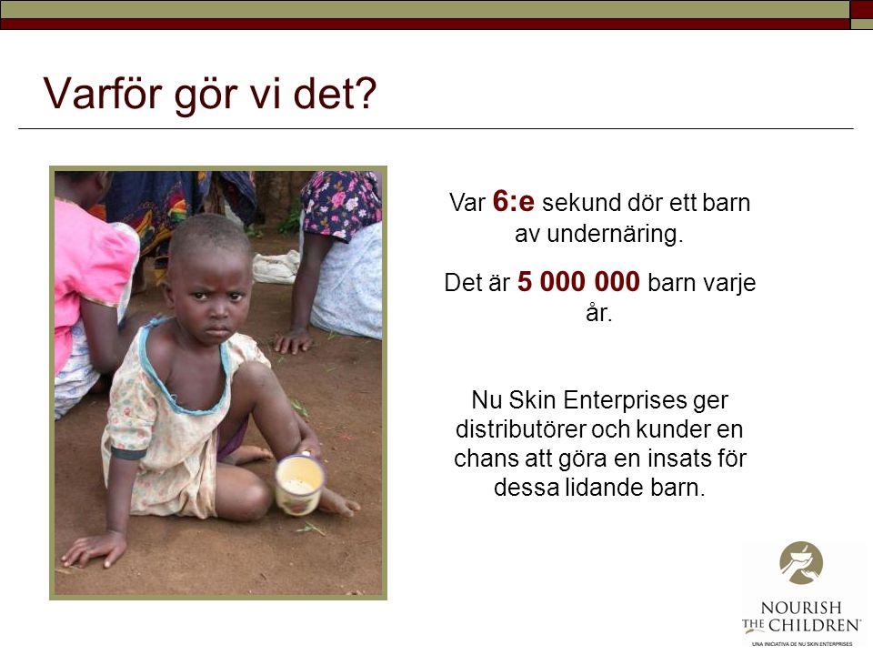 Varför gör vi det? Var 6:e sekund dör ett barn av undernäring. Det är 5 000 000 barn varje år. Nu Skin Enterprises ger distributörer och kunder en cha
