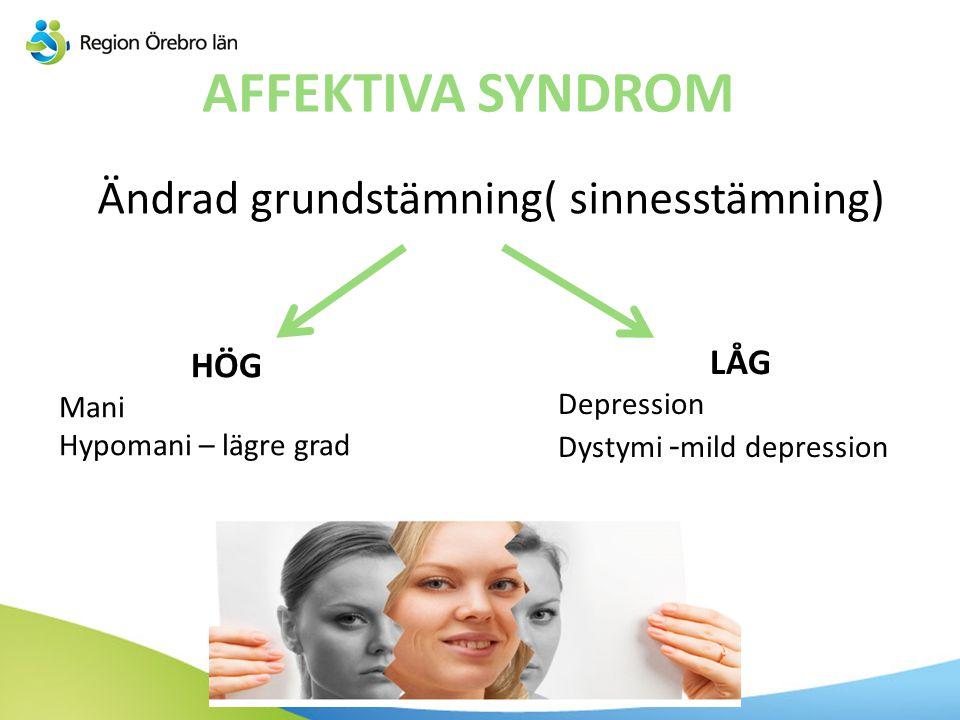 AFFEKTIVA SYNDROM Ändrad grundstämning( sinnesstämning) HÖG Mani Hypomani – lägre grad LÅG Depression Dystymi - mild depression