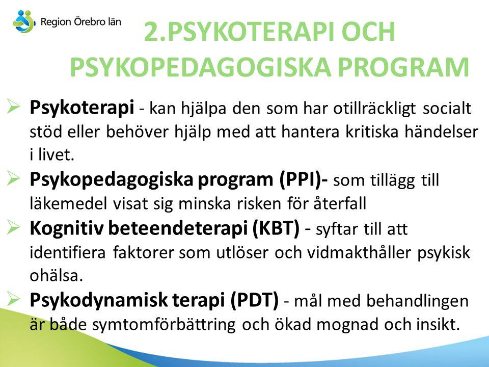 2.PSYKOTERAPI OCH PSYKOPEDAGOGISKA PROGRAM  Psykoterapi - kan hjälpa den som har otillräckligt socialt stöd eller behöver hjälp med att hantera kriti
