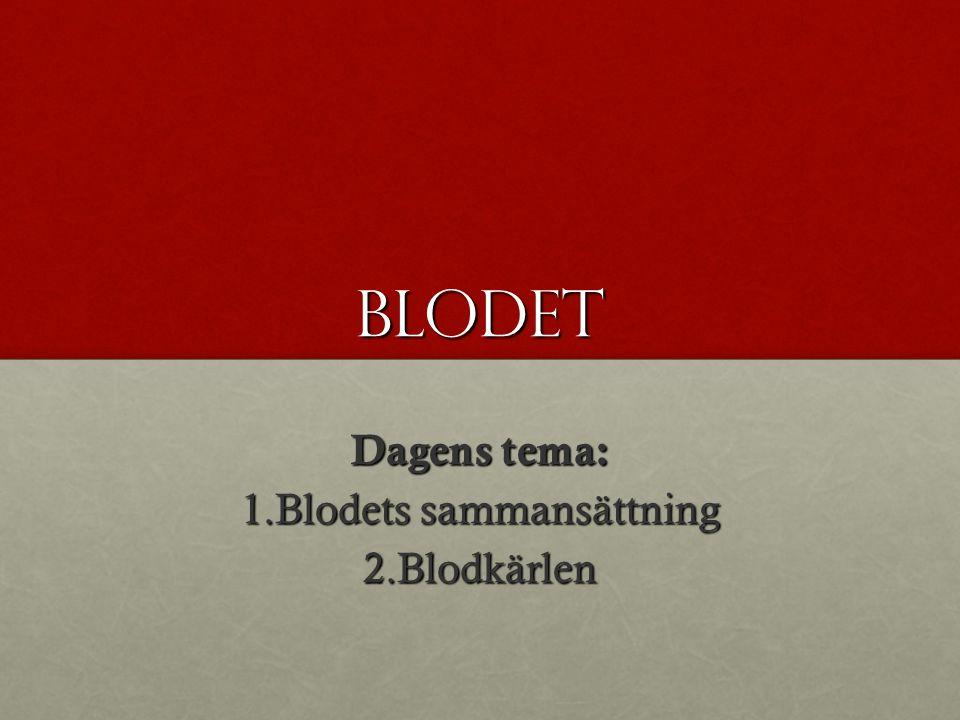 BLODET Dagens tema: 1.Blodets sammansättning 2.Blodkärlen