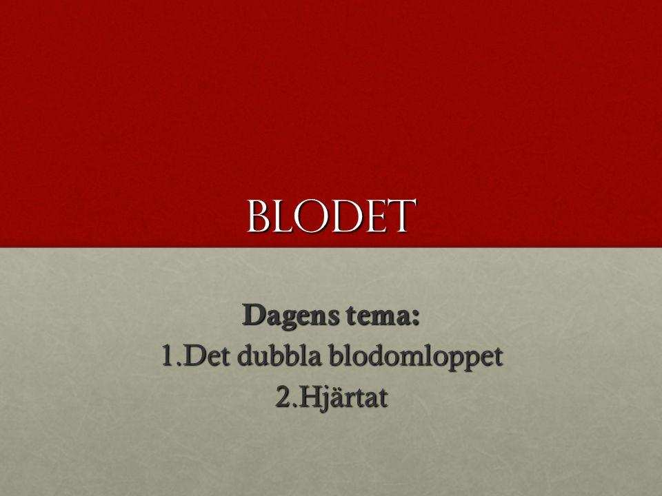 Blodet Dagens tema: 1.Det dubbla blodomloppet 2.Hjärtat