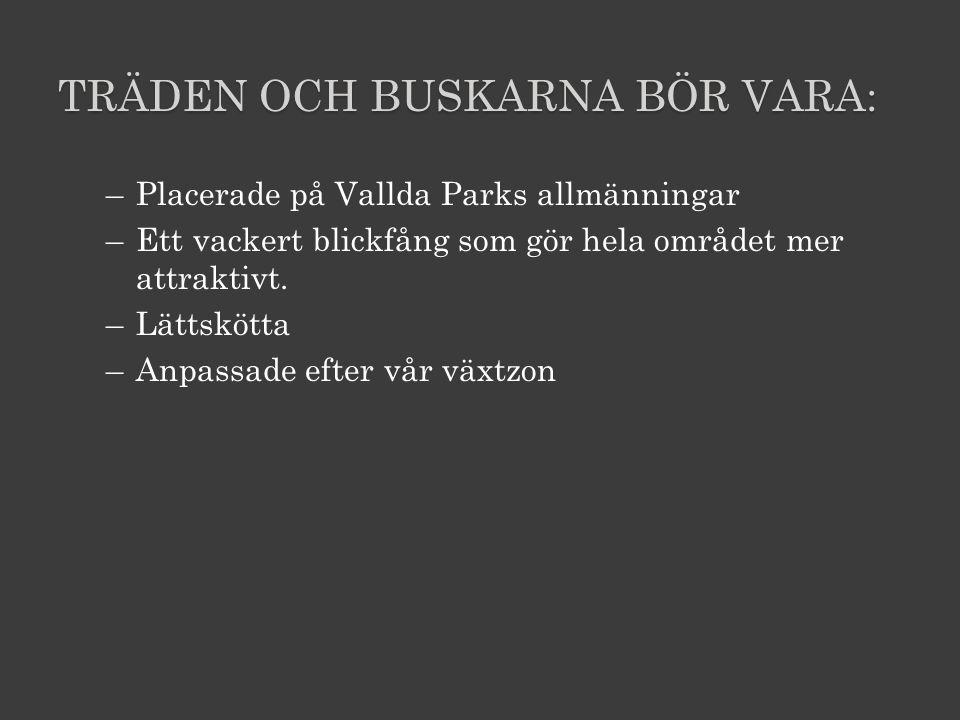 TRÄDEN OCH BUSKARNA BÖR VARA: –Placerade på Vallda Parks allmänningar –Ett vackert blickfång som gör hela området mer attraktivt.