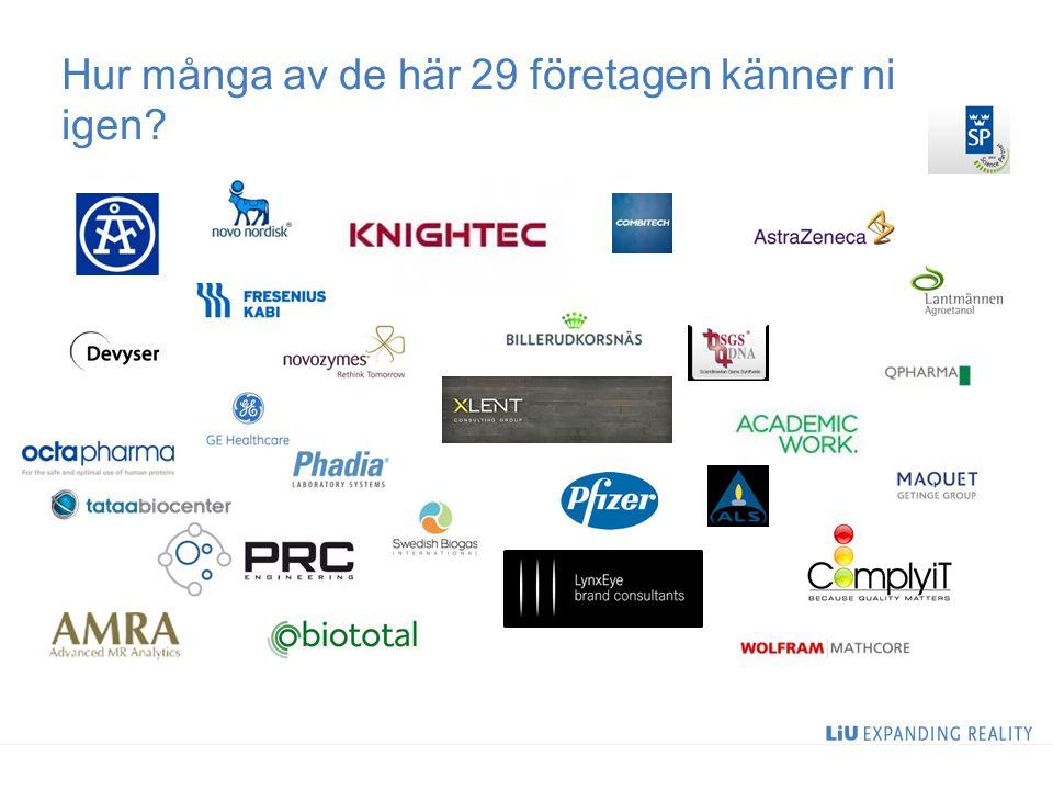 Hur många av de här 29 företagen känner ni igen?