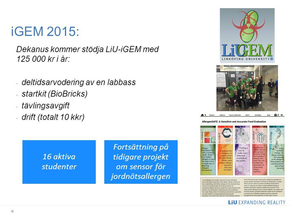 iGEM 2015: 13 Dekanus kommer stödja LiU-iGEM med 125 000 kr i år: - deltidsarvodering av en labbass - startkit (BioBricks) - tävlingsavgift - drift (t