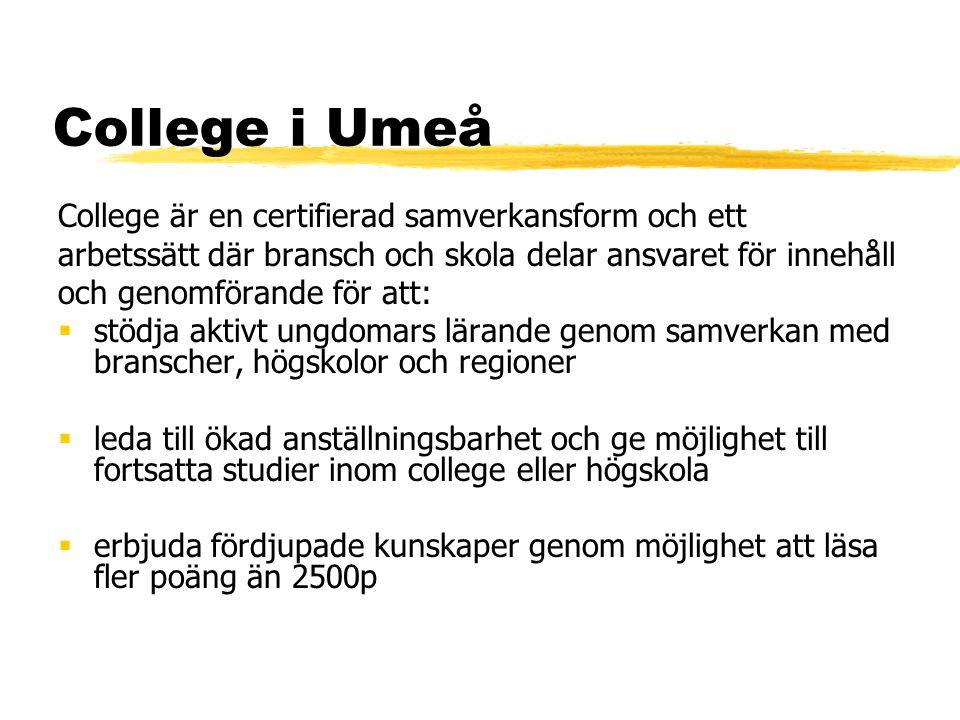 College i Umeå College är en certifierad samverkansform och ett arbetssätt där bransch och skola delar ansvaret för innehåll och genomförande för att: