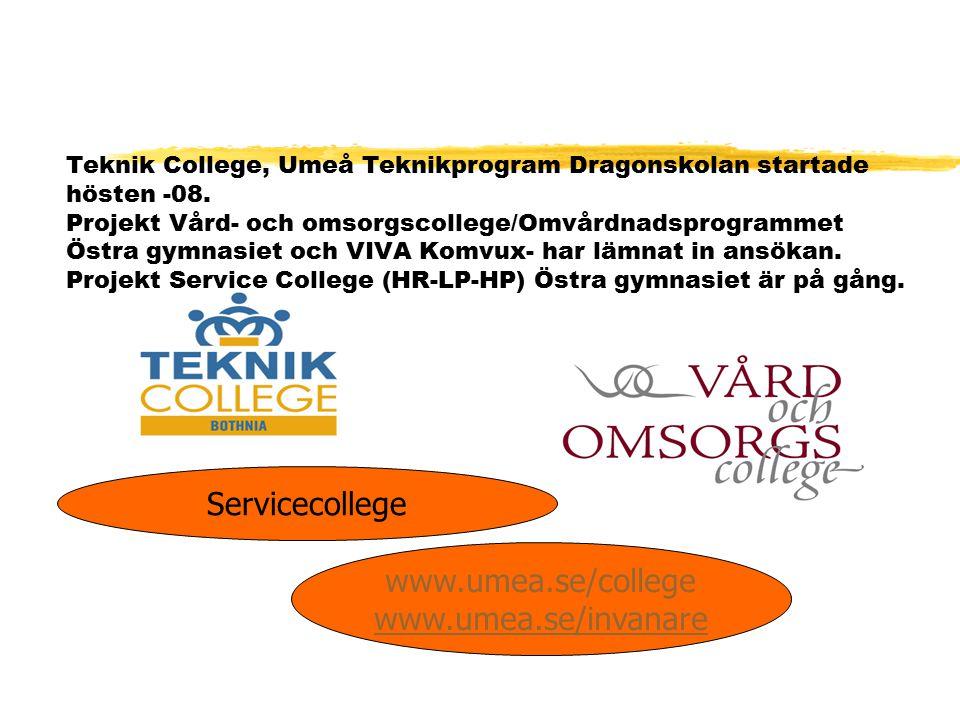 Teknik College, Umeå Teknikprogram Dragonskolan startade hösten -08. Projekt Vård- och omsorgscollege/Omvårdnadsprogrammet Östra gymnasiet och VIVA Ko