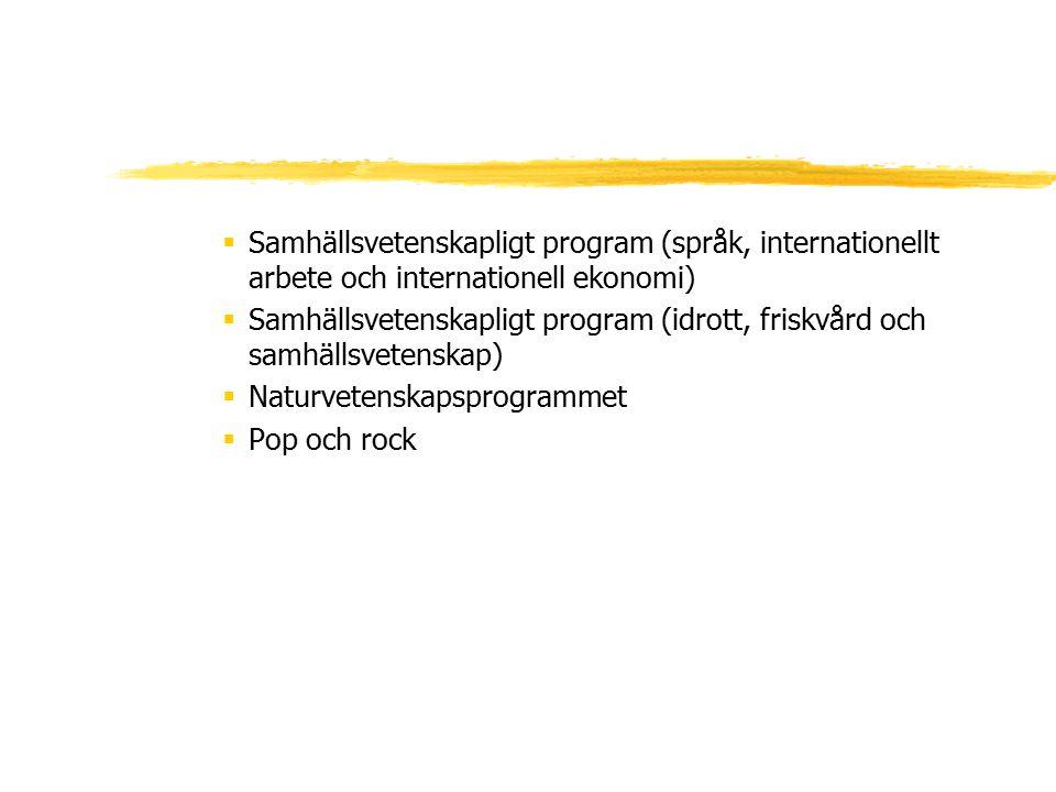  Samhällsvetenskapligt program (språk, internationellt arbete och internationell ekonomi)  Samhällsvetenskapligt program (idrott, friskvård och samh