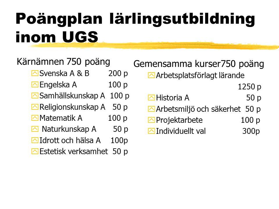 Poängplan lärlingsutbildning inom UGS Kärnämnen 750 poäng ySvenska A & B 200 p yEngelska A 100 p ySamhällskunskap A 100 p yReligionskunskap A 50 p yMa