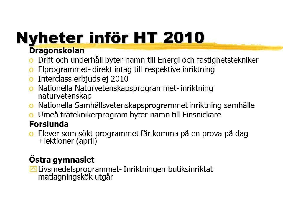 Nyheter inför HT 2010 Dragonskolan oDrift och underhåll byter namn till Energi och fastighetstekniker oElprogrammet- direkt intag till respektive inri