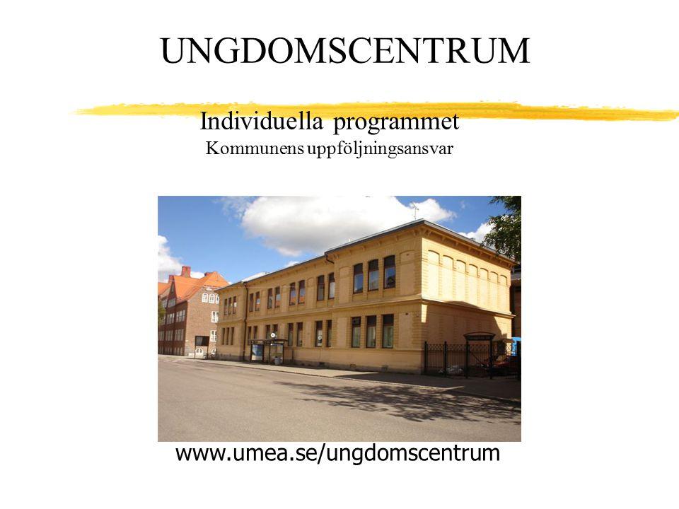 Individuella programmet Kommunens uppföljningsansvar www.umea.se/ungdomscentrum UNGDOMSCENTRUM