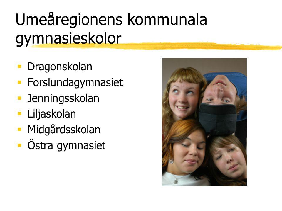 Umeåregionens kommunala gymnasieskolor  Dragonskolan  Forslundagymnasiet  Jenningsskolan  Liljaskolan  Midgårdsskolan  Östra gymnasiet