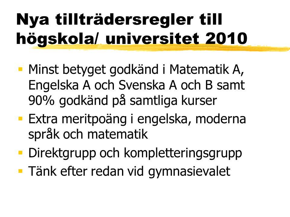Nya tillträdersregler till högskola/ universitet 2010  Minst betyget godkänd i Matematik A, Engelska A och Svenska A och B samt 90% godkänd på samtli