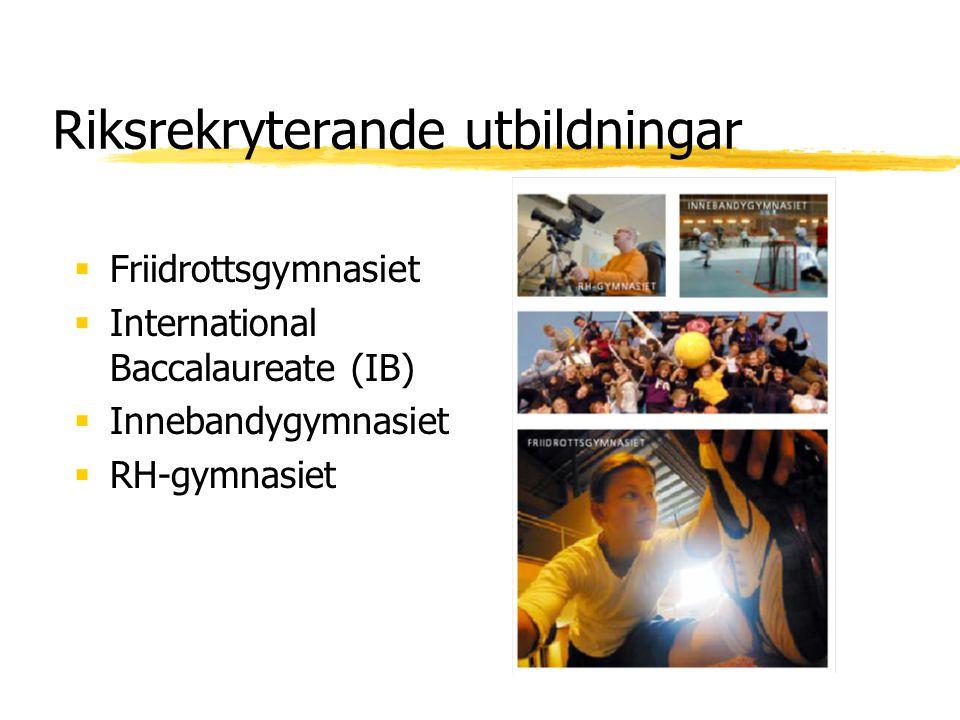 Riksrekryterande utbildningar  Friidrottsgymnasiet  International Baccalaureate (IB)  Innebandygymnasiet  RH-gymnasiet