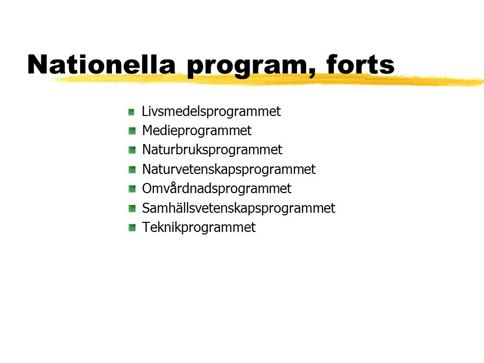 Nationella program, forts Livsmedelsprogrammet Medieprogrammet Naturbruksprogrammet Naturvetenskapsprogrammet Omvårdnadsprogrammet Samhällsvetenskapsp