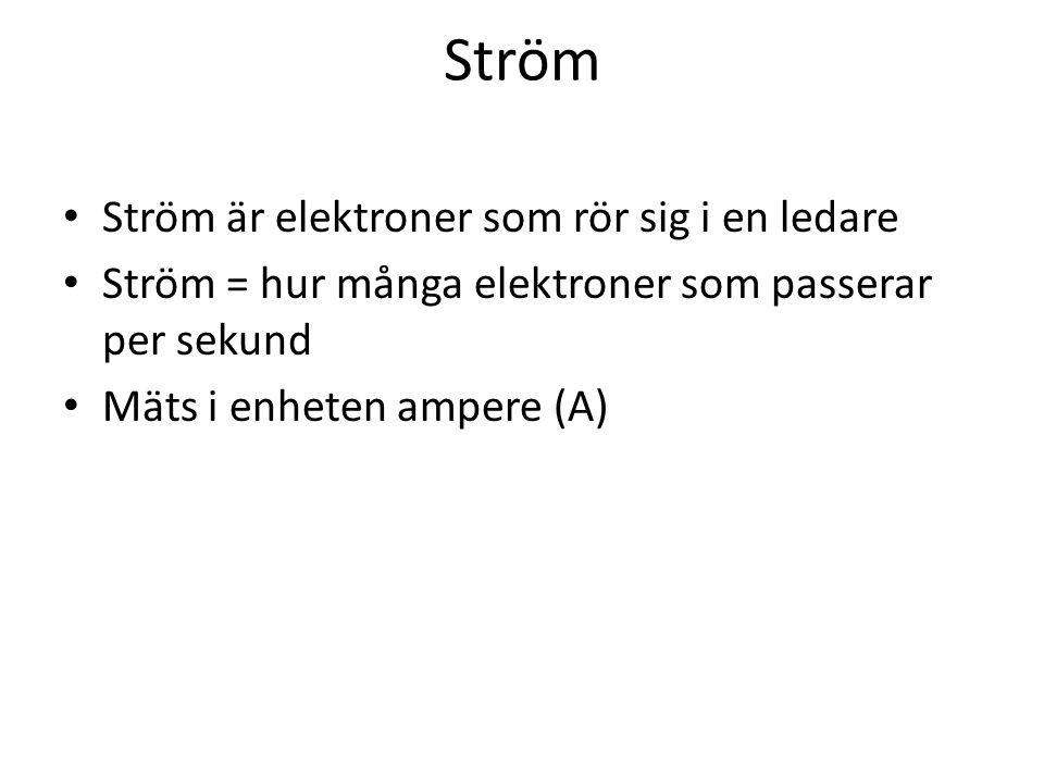 Ström Ström är elektroner som rör sig i en ledare Ström = hur många elektroner som passerar per sekund Mäts i enheten ampere (A)