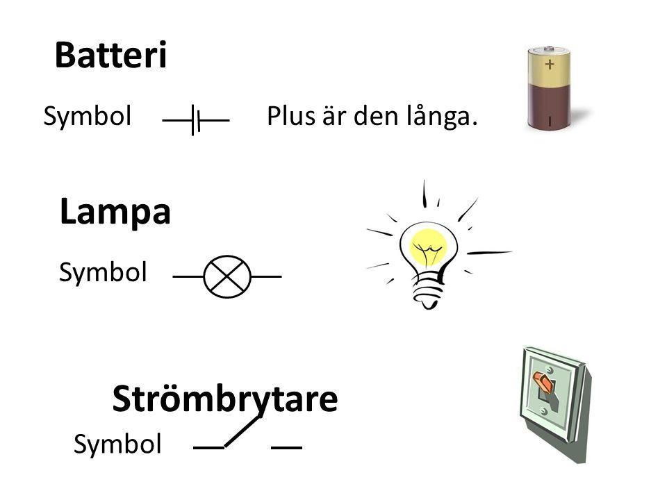 Batteri Symbol Plus är den långa. Lampa Symbol Strömbrytare