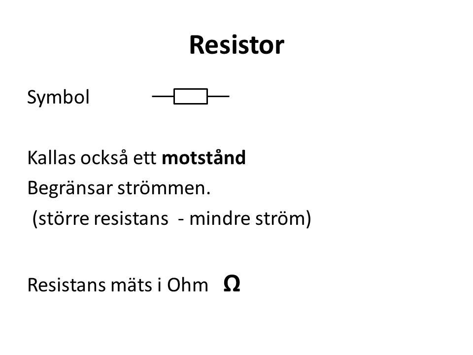 Resistor Symbol Kallas också ett motstånd Begränsar strömmen.