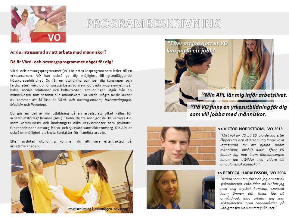 Är du intresserad av att arbeta med människor? Då är Vård- och omsorgsprogrammet något för dig! Vård- och omsorgsprogrammet (VO) är ett yrkesprogram s