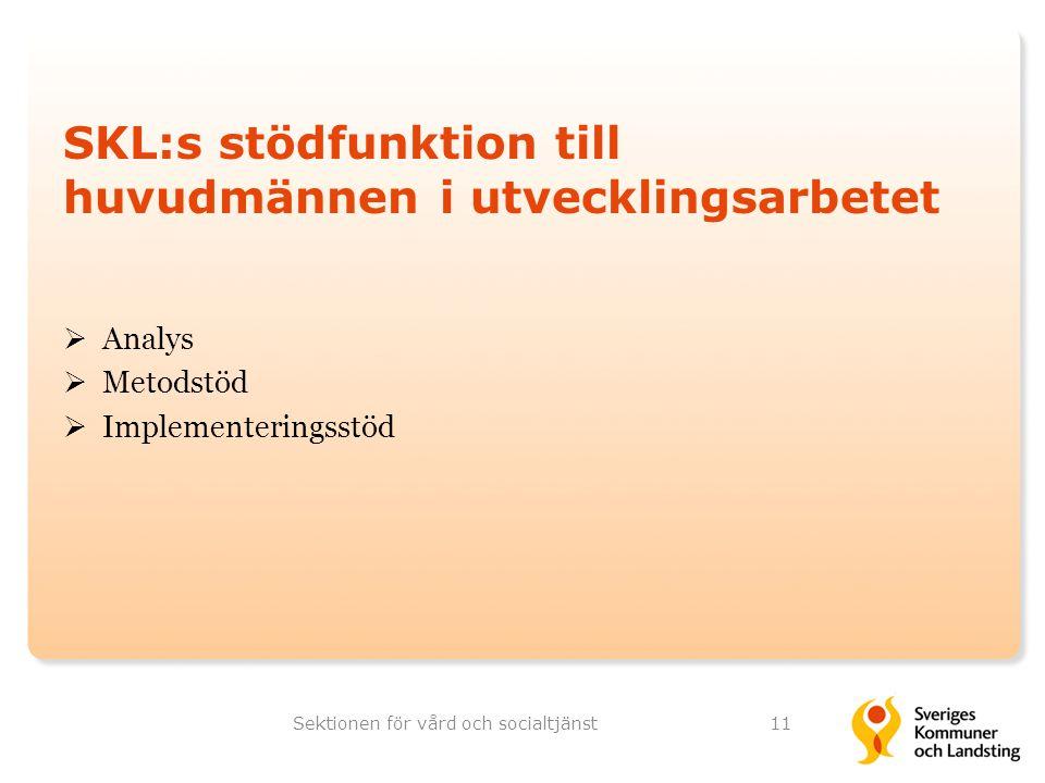 SKL:s stödfunktion till huvudmännen i utvecklingsarbetet  Analys  Metodstöd  Implementeringsstöd Sektionen för vård och socialtjänst11