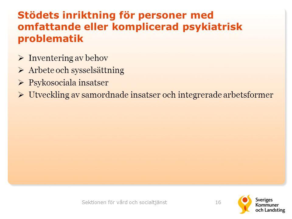 Stödets inriktning för personer med omfattande eller komplicerad psykiatrisk problematik  Inventering av behov  Arbete och sysselsättning  Psykosoc