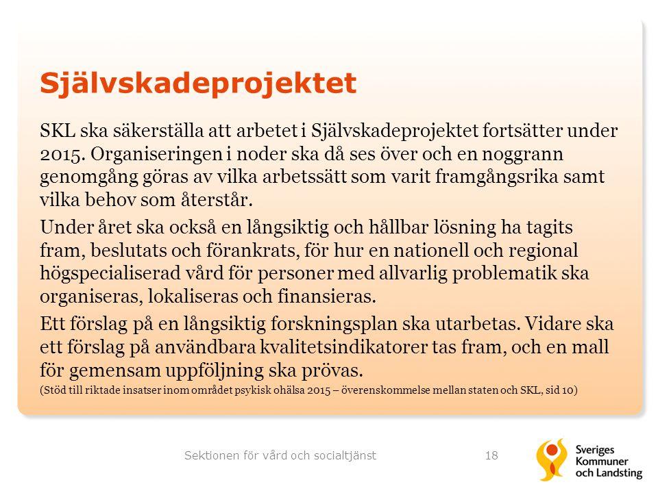 Självskadeprojektet SKL ska säkerställa att arbetet i Självskadeprojektet fortsätter under 2015. Organiseringen i noder ska då ses över och en noggran