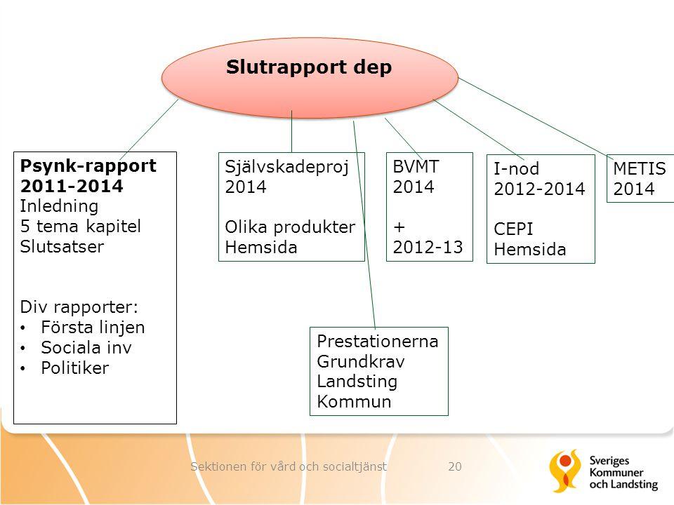 Slutrapport dep Psynk-rapport 2011-2014 Inledning 5 tema kapitel Slutsatser Div rapporter: Första linjen Sociala inv Politiker Självskadeproj 2014 Oli