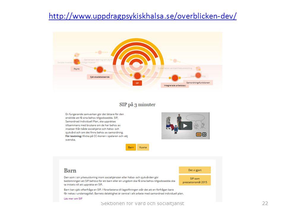 http://www.uppdragpsykiskhalsa.se/overblicken-dev/ Sektionen för vård och socialtjänst22