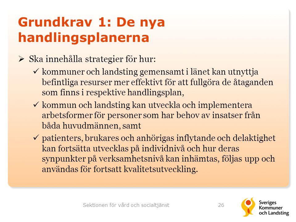 Grundkrav 1: De nya handlingsplanerna  Ska innehålla strategier för hur: kommuner och landsting gemensamt i länet kan utnyttja befintliga resurser me