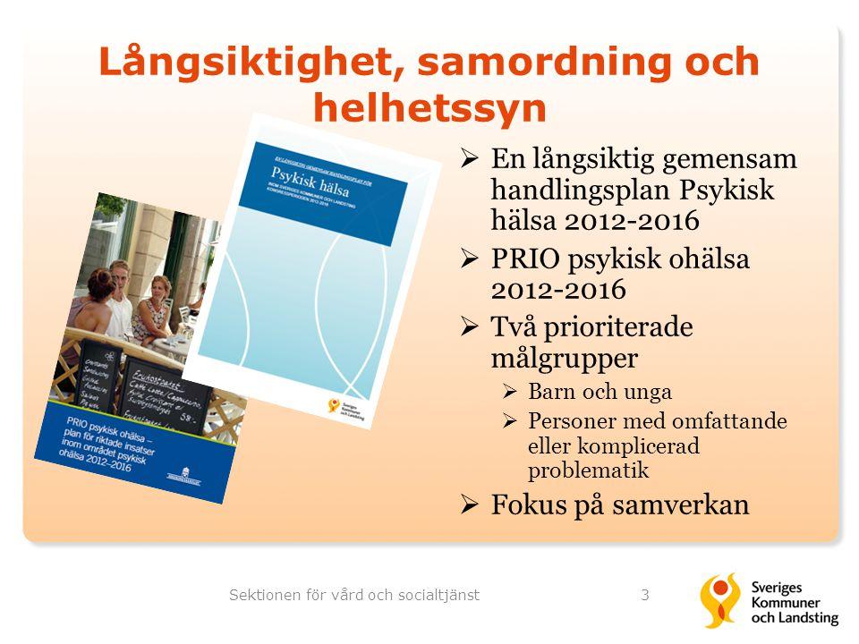 Långsiktighet, samordning och helhetssyn  En långsiktig gemensam handlingsplan Psykisk hälsa 2012-2016  PRIO psykisk ohälsa 2012-2016  Två priorite